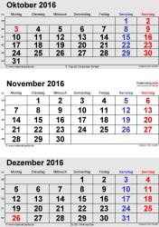 3-Monats-Kalender Oktober/November/Dezember 2016 im Hochformat