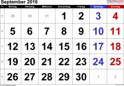 Kalender September 2016 im Querformat, grosse Ziffern