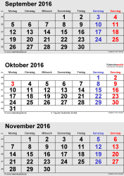 3-Monats-Kalender September/Oktober/November 2016 im Hochformat