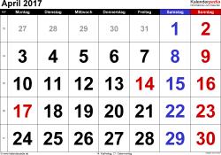 Kalender April 2017 im Querformat, grosse Ziffern