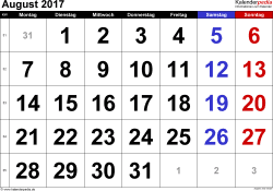Kalender August 2017 im Querformat, grosse Ziffern