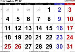 Kalender Dezember 2017 im Querformat, grosse Ziffern
