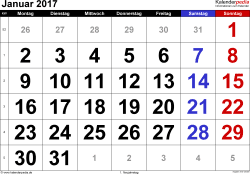 Kalender Januar 2017 im Querformat, grosse Ziffern