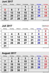 3-Monats-Kalender Juni/Juli/August 2017 im Hochformat