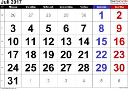 Kalender Juli 2017 im Querformat, grosse Ziffern