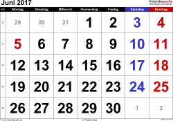 Kalender Juni 2017 im Querformat, grosse Ziffern