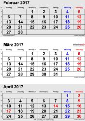 3-Monats-Kalender Februar/März/April 2017 im Hochformat