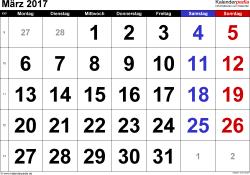 Kalender März 2017 im Querformat, grosse Ziffern