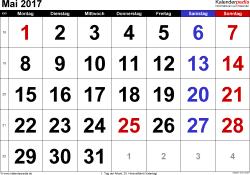 Kalender Mai 2017 im Querformat, grosse Ziffern