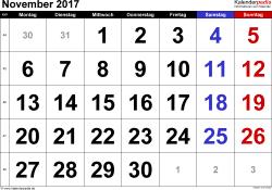 Kalender November 2017 im Querformat, grosse Ziffern