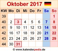 Kalender Oktober 2017