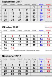 3-Monats-Kalender September/Oktober/November 2017 im Hochformat