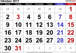 Kalender Oktober 2017 im Querformat, grosse Ziffern