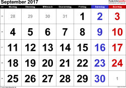 Kalender September 2017 im Querformat, grosse Ziffern