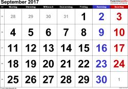 Kalender September 2017 im Querformat, grosse Ziffern