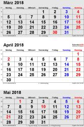 3-Monats-Kalender März/April/Mai 2018 im Hochformat