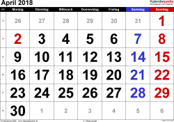 Kalender April 2018 im Querformat, grosse Ziffern