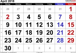 Kalender April 2018 im Querformat, grosse Ziffern