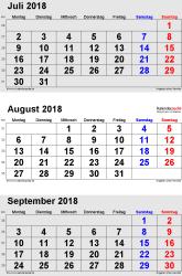 3-Monats-Kalender Juli/August/September 2018 im Hochformat