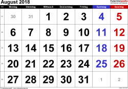 Kalender August 2018 im Querformat, grosse Ziffern