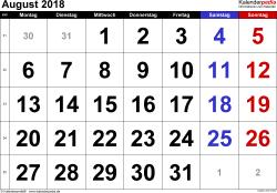 Kalender August 2018 im Querformat, grosse Ziffern
