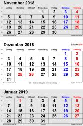 3-Monats-Kalender November/December 2018& Januar 2019 im Hochformat