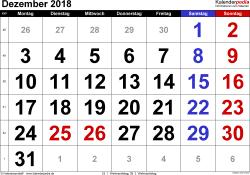 Kalender December 2018 im Querformat, grosse Ziffern