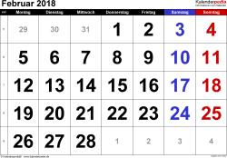 Kalender Februar 2018 im Querformat, grosse Ziffern