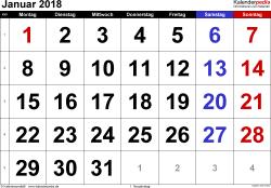 Kalender Januar 2018 im Querformat, grosse Ziffern
