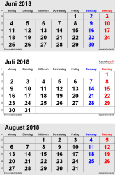 3-Monats-Kalender Juni/Juli/August 2018 im Hochformat