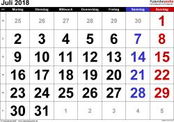 Kalender Juli 2018 im Querformat, grosse Ziffern