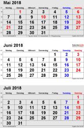 3-Monats-Kalender Mai/Juni/Juli 2018 im Hochformat