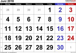 Kalender Juni 2018 im Querformat, grosse Ziffern