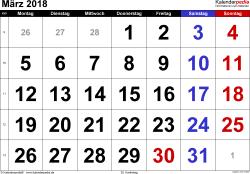 Kalender März 2018 im Querformat, grosse Ziffern