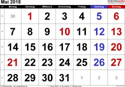 Kalender Mai 2018 im Querformat, grosse Ziffern