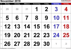 Kalender November 2018 im Querformat, grosse Ziffern