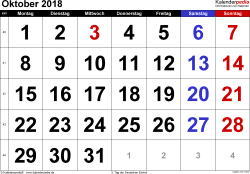 Kalender Oktober 2018 im Querformat, grosse Ziffern