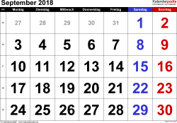 Kalender September 2018 im Querformat, grosse Ziffern
