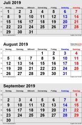 3-Monats-Kalender Juli/August/September 2019 im Hochformat
