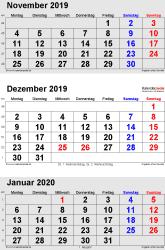 3-Monats-Kalender November/Dezember 2019& Januar 2020 im Hochformat