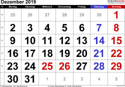 Kalender December 2019 im Querformat, grosse Ziffern