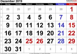 Kalender Dezember 2019 im Querformat, grosse Ziffern