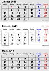 3-Monats-Kalender Januar/Februar/März 2019 im Hochformat