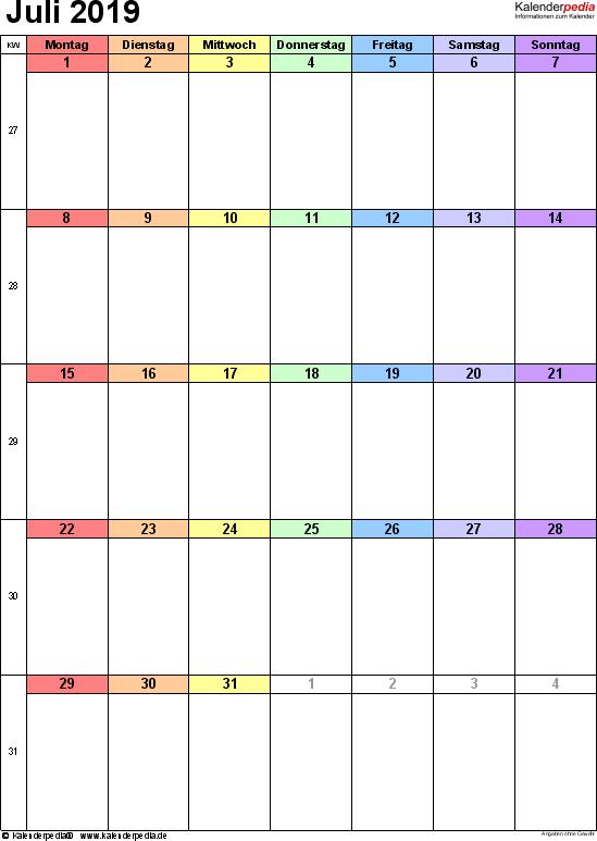 Kalender Juli 2019 (Hochformat) als Excel-Vorlage