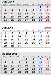 3-Monats-Kalender Juni/Juli/August 2019 im Hochformat