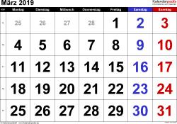 Kalender März 2019 im Querformat, grosse Ziffern
