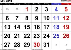 Kalender Mai 2019 im Querformat, grosse Ziffern