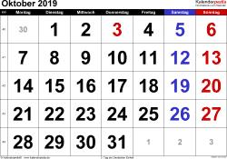 Kalender Oktober 2019 im Querformat, grosse Ziffern