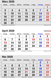 3-Monats-Kalender März/April/Mai 2020 im Hochformat