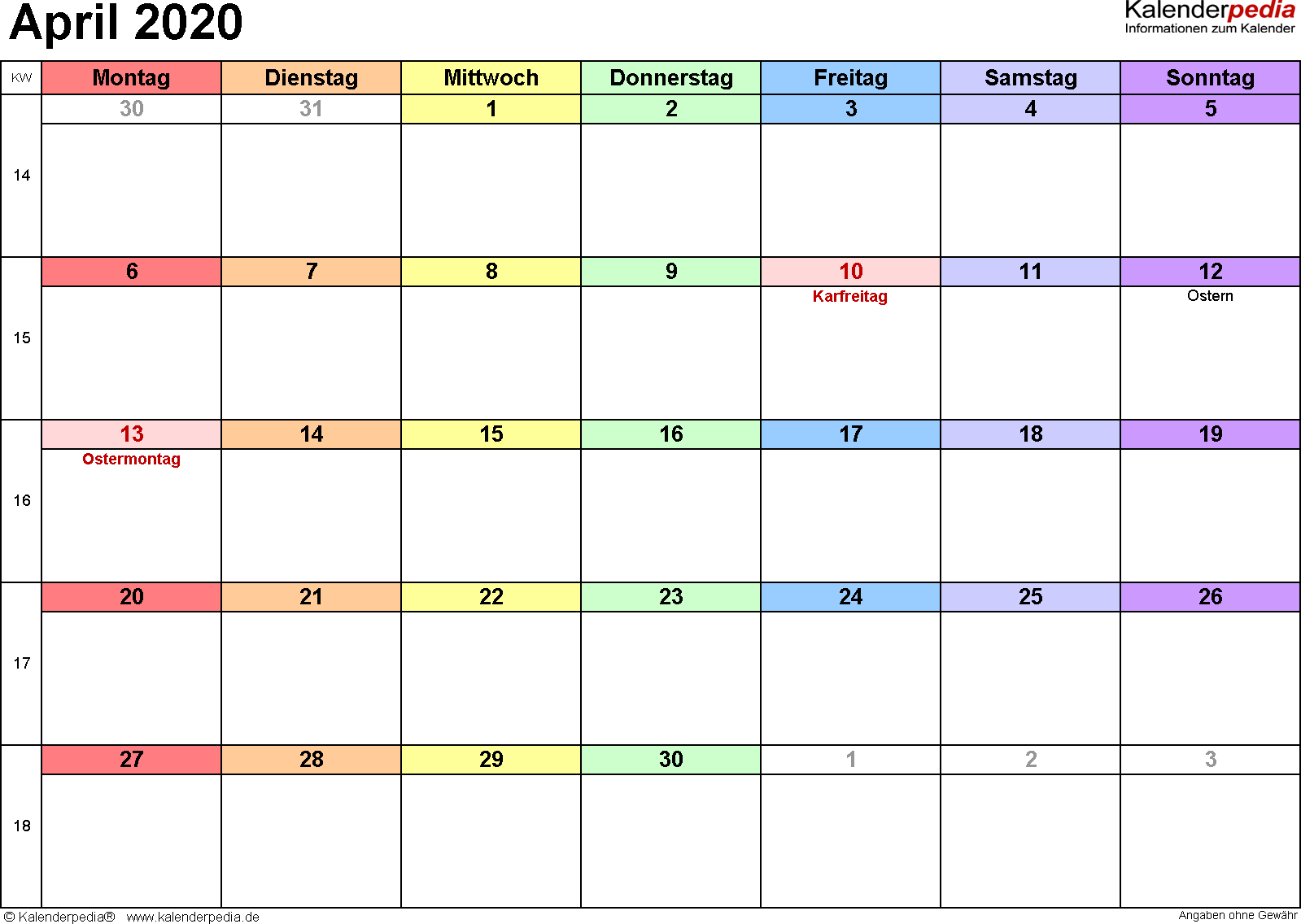 Kalender April 2020 (Querformat) als PDF-Vorlage